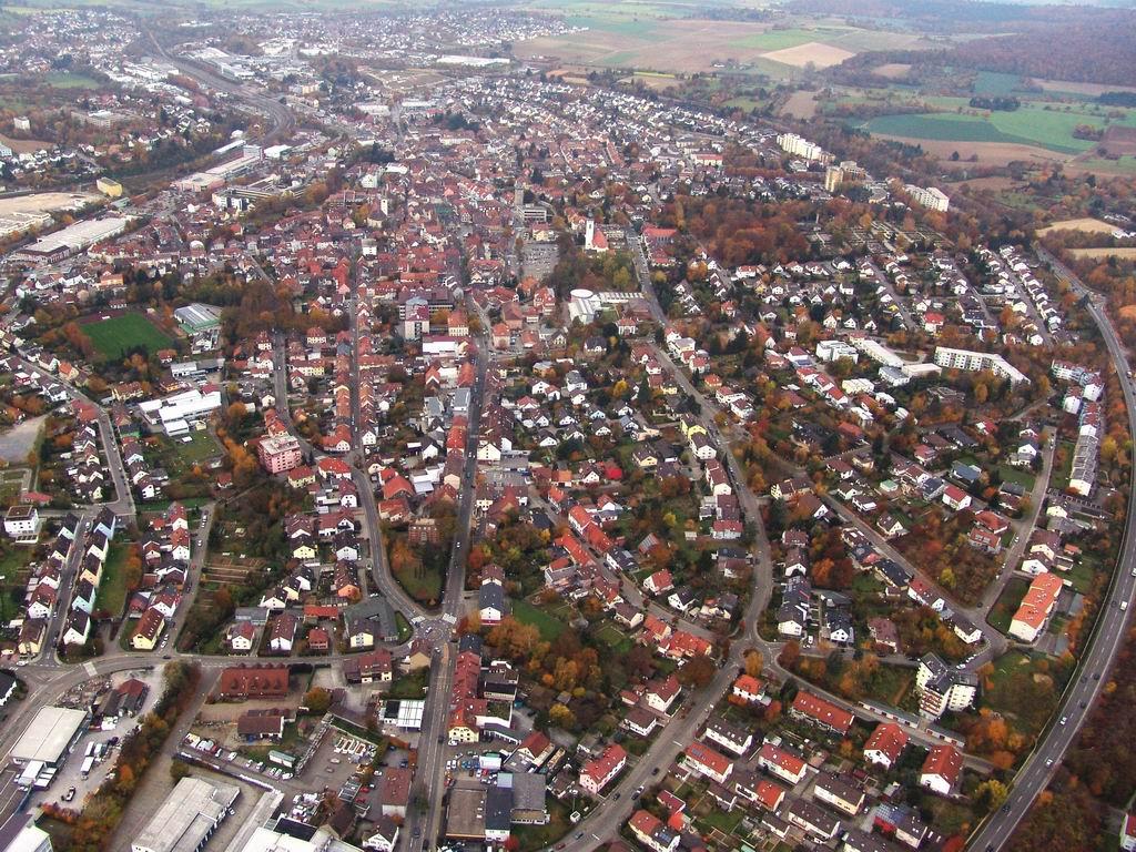 Luftbild der Brettener Kernstadt